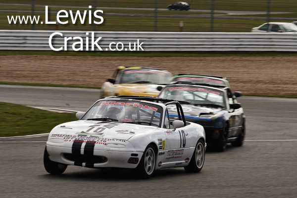 Steve Greensmith heading a close battle - Abbey chicane